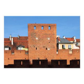 Pared y torre viejas de la ciudad de Varsovia Fotografías