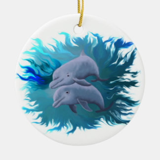 Pareja de delfín adorno navideño redondo de cerámica