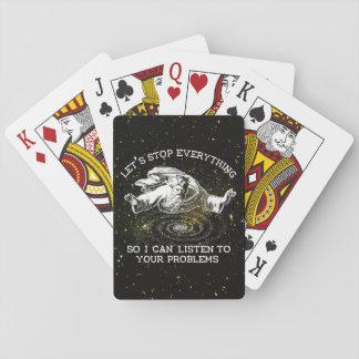 Paremos todo así que puedo escuchar baraja de cartas