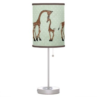 Parent And Baby Giraffe On Green Background Table Lamps