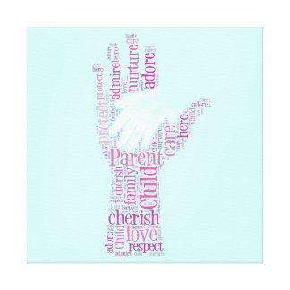 Parent Child Hands Family Typography Word Canvas Canvas Print