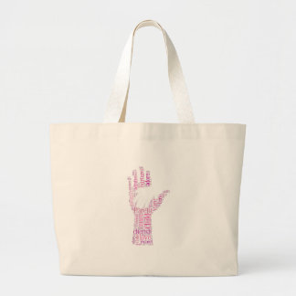 Parent Child Hands Family Typography Word Cloud Large Tote Bag