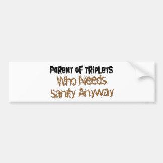 Parent of TRIPLETS Bumper Sticker