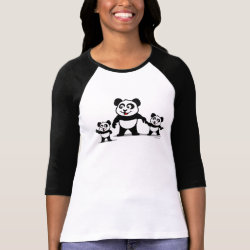 Ladies Raglan Fitted T-Shirt with Cute Panda with two Babies design