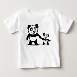 Baby Fine Jersey T-Shirt with Cute Panda with one Baby design