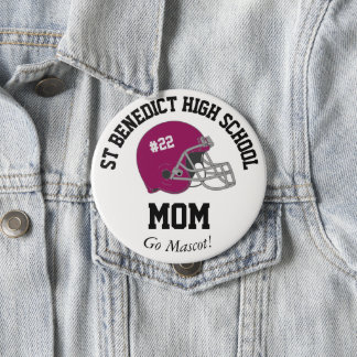 Parent Pride Senior Night Football Maroon Helmet Pinback Button