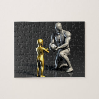 Parent Teaching Child as a Concept in 3D Jigsaw Puzzle