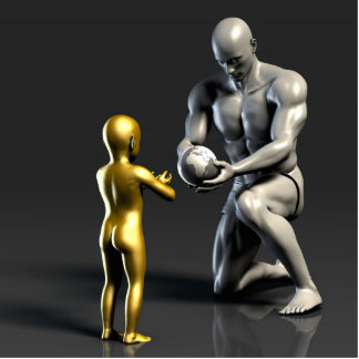Parent Teaching Child as a Concept in 3D Statuette