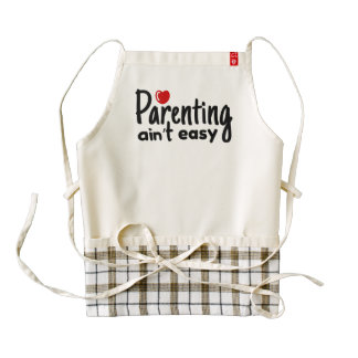 Parenting Ain't Easy Typography Zazzle HEART Apron