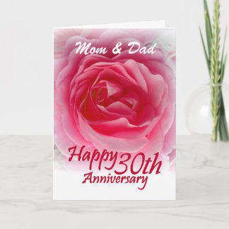PARENTS - 30th Wedding Anniversary with Pink Rose Card