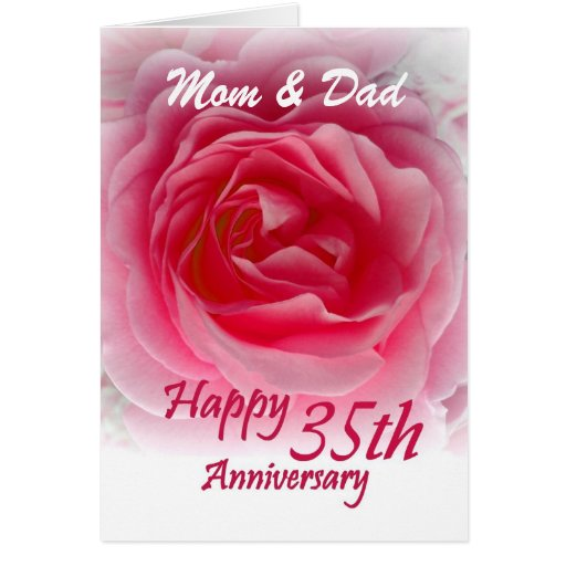 PARENTS35th Wedding Anniversary with Pink Rose Card Zazzle