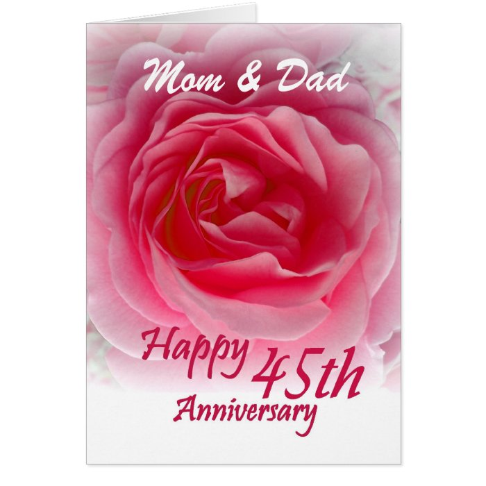 45th Wedding Anniversary With Pink Rose Card
