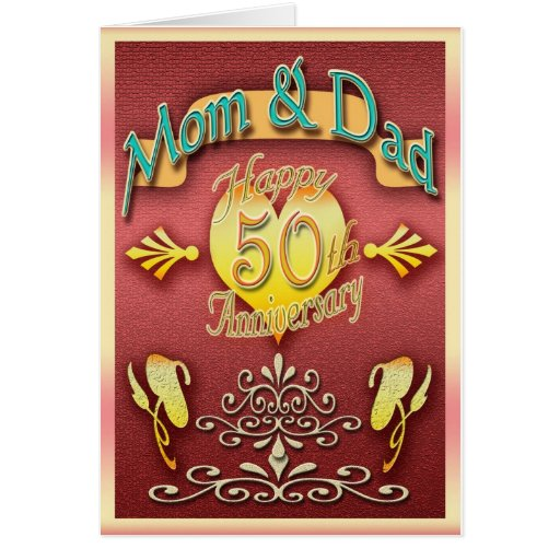 Parents th anniversary card mom dad zazzle