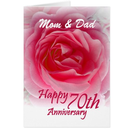 PARENTS 70th Anniversary with Pink Rose Greeting Cards