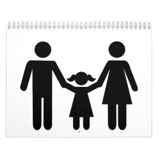 Parents a la hija del niño calendarios de pared
