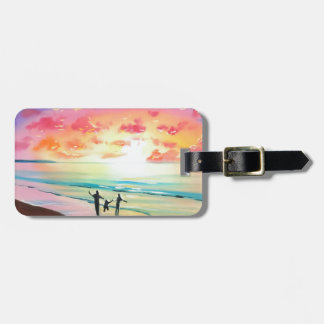 Parents and child sunset seascape bag tag