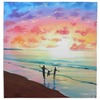 Parents and child sunset seascape cloth napkin