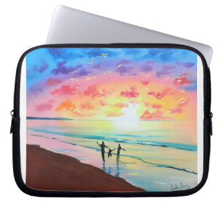 Parents and child sunset seascape laptop sleeve