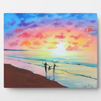 Parents and child sunset seascape plaque
