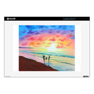 "Parents and child sunset seascape skin for 15"" laptop"