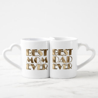 Parents Best Mom Ever Best Dad Ever Gold Look Text Coffee Mug Set