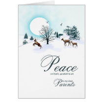 Parents, Christmas scene with reindeer Card