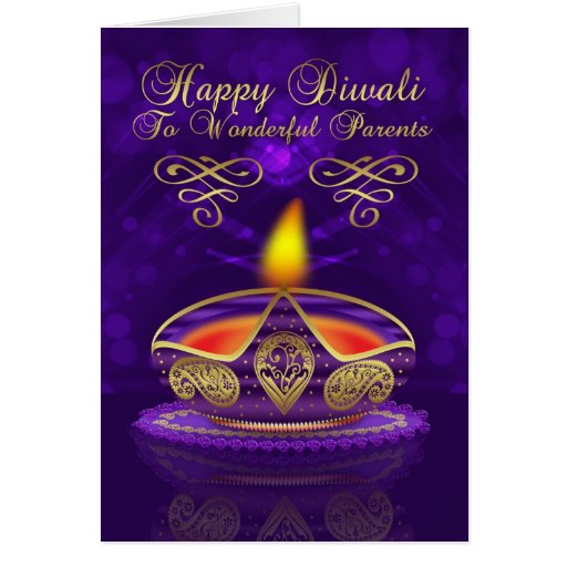 Parents Diwali Greeting Card With Lamp