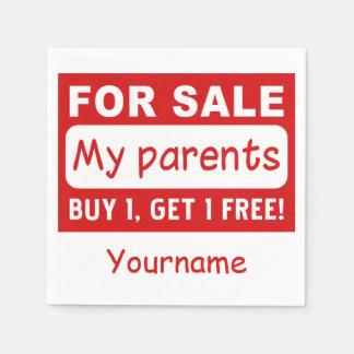 PARENTS FOR SALE custom paper napkins