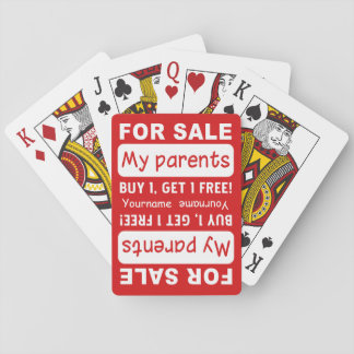 PARENTS FOR SALE custom playing cards