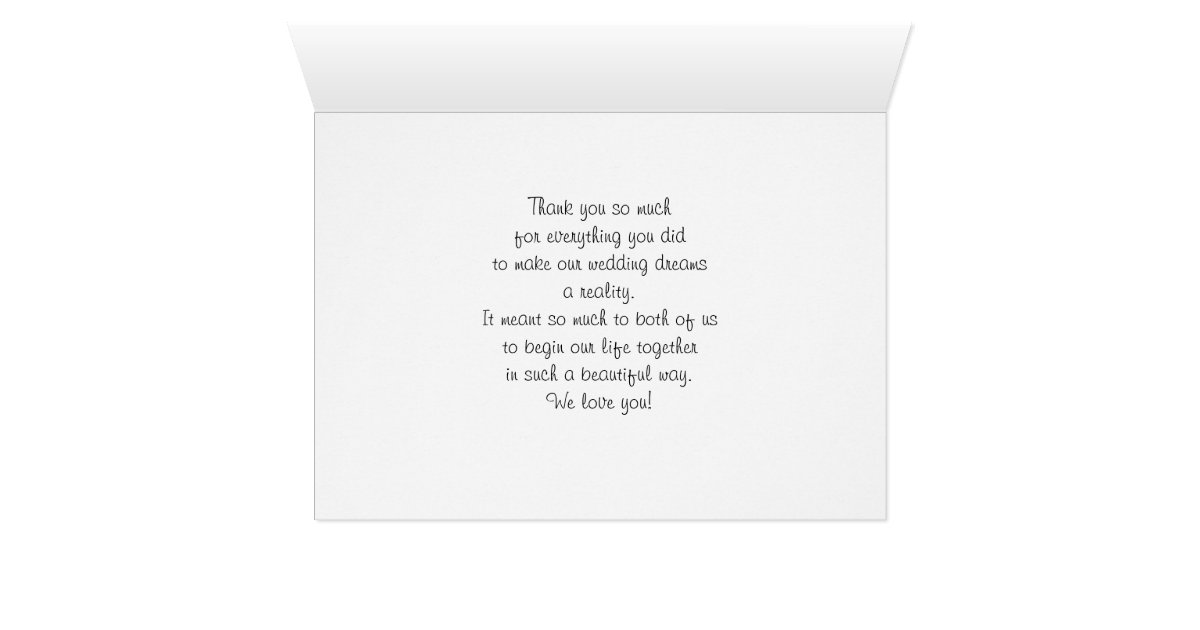 Parents Mom And Dad Wedding Thank You Card  Zazzle