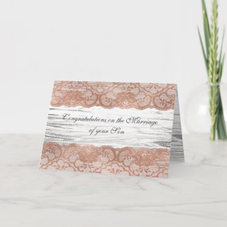 Parents of Bride Congratulations Pink Rose Gold Card