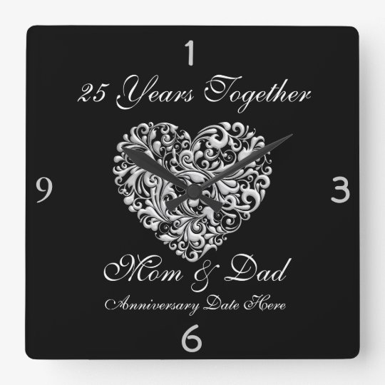 Silver Wedding Anniversary Gift Ideas For Parents: PARENTS SILVER 25th Anniversary GIFT Wall Clock