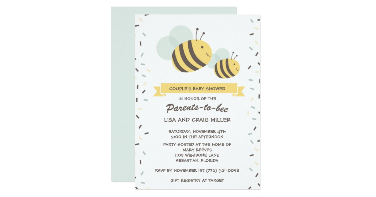 Parents To Bee Bumblebee Couple S Baby Shower Invitation Zazzle