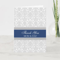 Parents Wedding Day Thank You Blue Gray Damask
