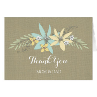 Parents Wedding Day Thank You Burlap Spring Floral Greeting Card