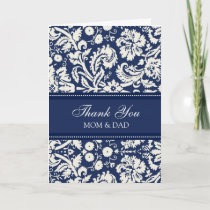 Parents Wedding Day Thank You Coral Blue Damask