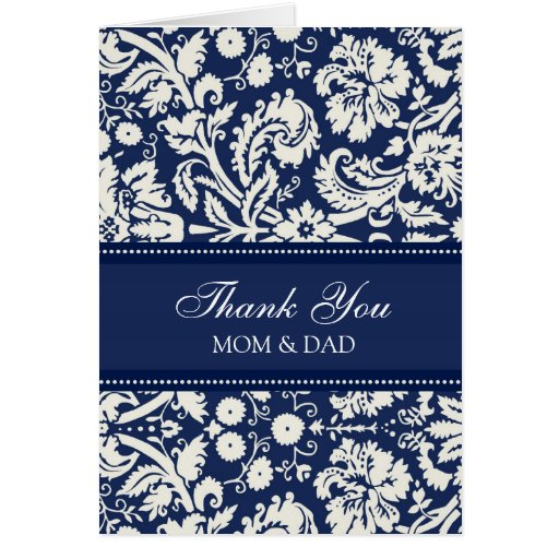 Parents Wedding Day Thank You Coral Blue Damask Greeting Card