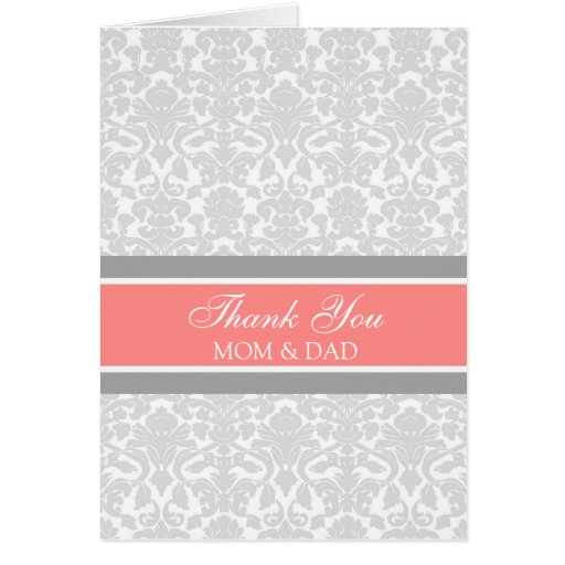 Parents Wedding Day Thank You Coral Gray Damask Greeting Card