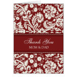 Parents Wedding Day Thank You Coral Red Damask Greeting Card