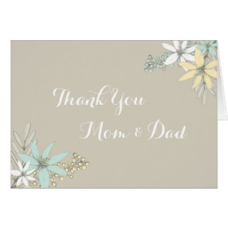 Parents Wedding Day Thank You Rustic Spring Floral Card
