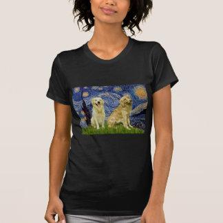Pares 3 del golden retriever - noche estrellada camiseta