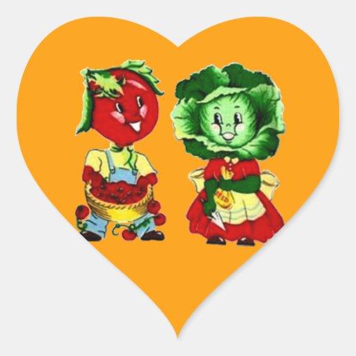 Pares adaptables de la verdura del vintage pegatina en forma de corazón