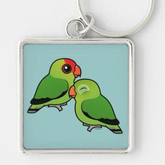 Pares adorables del Lovebird abisinio Llavero Cuadrado Plateado