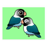 Pares adorables enmascarados azul del Lovebird Postales