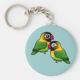 Pares adorables enmascarados del Lovebird Llavero Redondo Tipo Pin