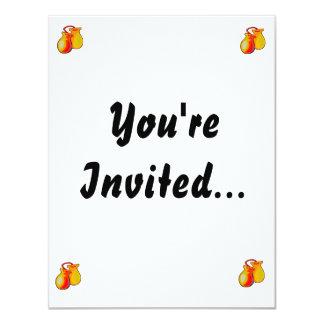 Pares amarillos de las castañuelas invitación 10,8 x 13,9 cm