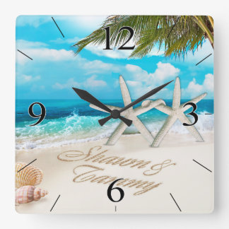 Pares blancos de las estrellas de mar de la playa reloj cuadrado