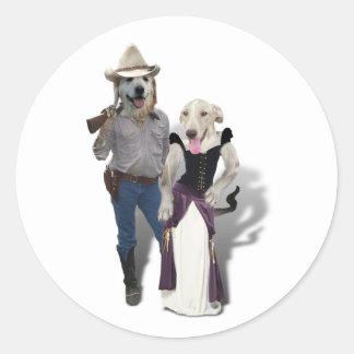 Pares caninos del vaquero etiqueta