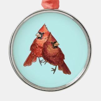 Pares cardinales adorno navideño redondo de metal