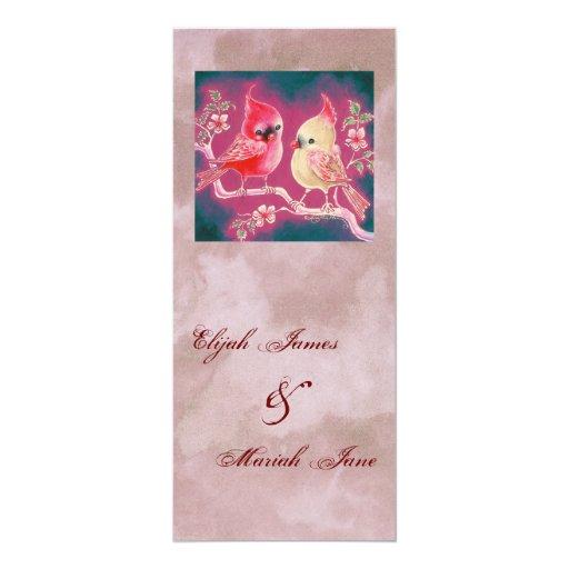 Pares cardinales cariñosos para casarse invitación 10,1 x 23,5 cm